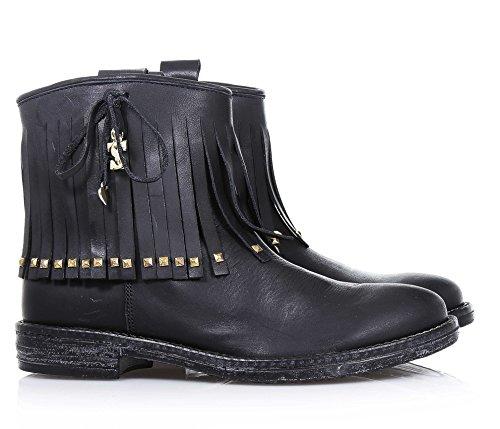 TWIN-SET - Stivaletto nero in pelle con frangetta sul gambale, dal design unico tipico del Made in Italy di alta qualità, borchie dorate decorative,, Bambina, Ragazza, Donna Nero