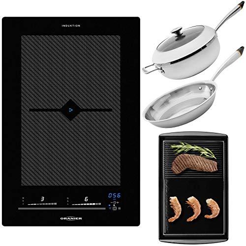 Oranier Vollflächeninduktionskochfeld 30 cm Set FLI 2038 be cook inkl. Edelstahl Pfannenset Induktion & gusseiserne Grillplatte -