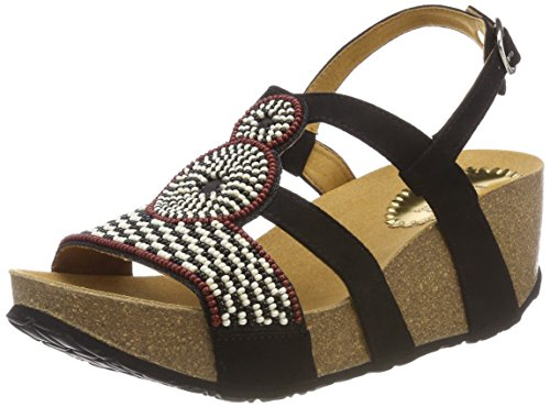 Desigual Shoes_odisea Africa Bn, Sandalias de Talón Abierto para Mujer, Negro 2000 Negro, 38 EU