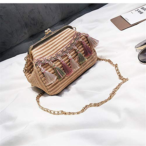 KOIDFJHA Bohemian Beach Straw Shell Bag Frauen Handtasche Kleine Messenger Bags Quaste Damen Umhängetasche Clutch Geldbörse Style 2 -