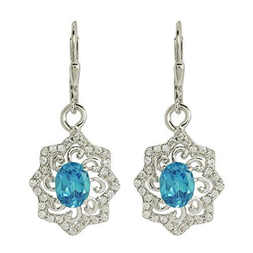 Shine Jewel Orecchini a clip in argento sterling 925 con topazio blu e topazio bianco. per donna Ovale Topazio blu Bianco