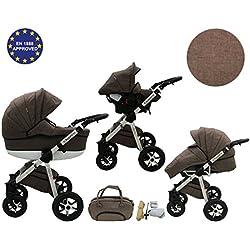 Quero, 3en 1sistema de viaje con material de lino, asiento de coche, cochecito para cochecito de bebé y accesorios (nº 10)