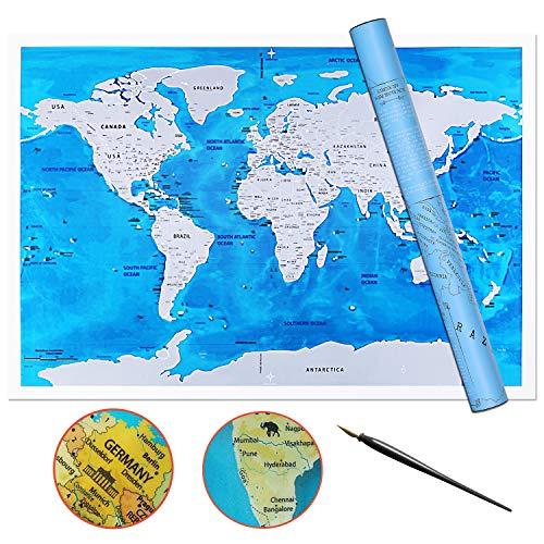 ZHIJING Weltkarte zum Rubbeln in Englisch inkl. Kratzwerkzeug Rubbel Weltkarte Landkarte zum Freirubbeln (Poster Silber/blau,82.5 * 58cm, inkl. Geschenk-Verpackung)