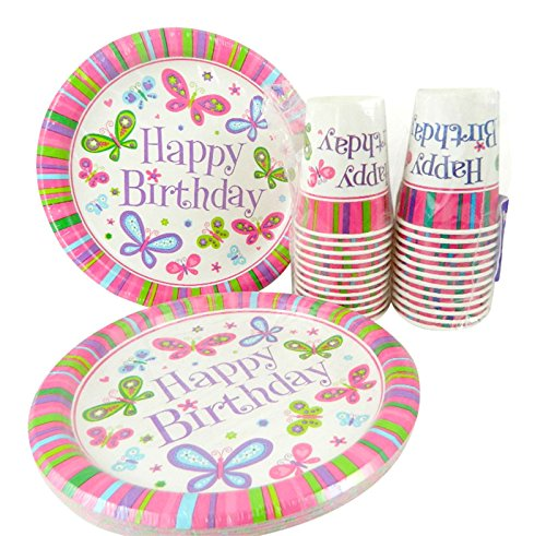 Happy Birthday Butterfly Girl Dinner Plates and Cups for 24 by Party