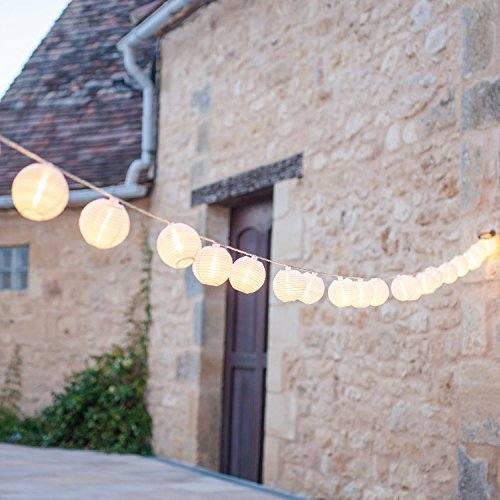 Lights4fun Cadena de 20 Luces LED con farolillos Impermeables Blancos