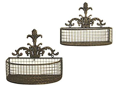 Antiqued Distressed Painted Black and Gold Set Of 2 Metal Wall Planters Or Baskets