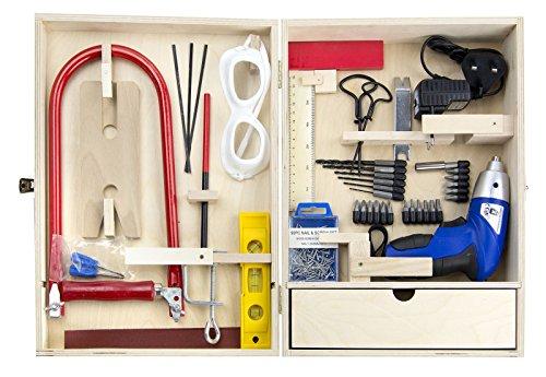 Leomark Deluxe Werkzeug für Kinder Mit Akkubohrschrauber und 47-TLG, Holz Werkyeugkasten, Kompakter Werkzeugkoffer Holzschrank mit Werkzeug