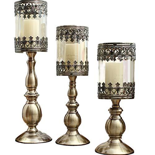 Chandeliers Bougeoir 3 bougeoirs porte-bougie, ensembles de bougies pour la maison/anniversaire de mariage, fond ajouré sculptant