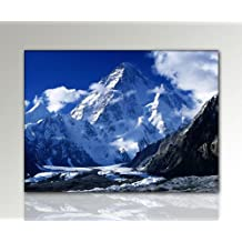 Such Majestic Mountain Scenery Decorative K2 Himalayas Picture on Canvas HD Print Ready Framed with Stretcher Frame XXL 110 x 80 cm Art Print on Authentic Canvas with Frame Cheaper Than Oil Painting Art Poster with Picture Frame Picture Style Nature Mountain Snow Glacier Clouds Blue White Grey
