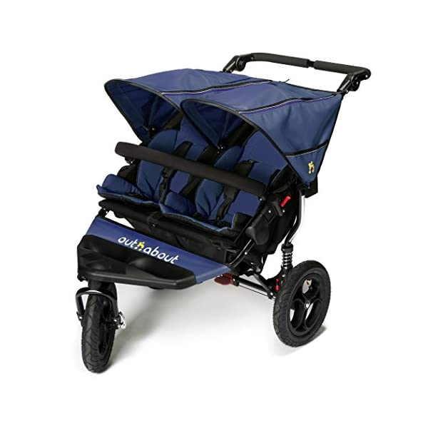 Out n About Nipper Double v4 Stroller  suitable from birth to approx 4 years new auto lock clips together when stroller is folded now with individual seat hoods instead of one large sunhood 1