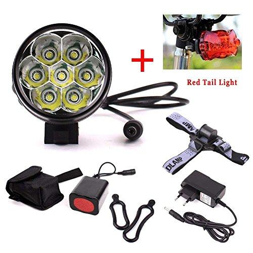Fahrrad vorderes Leuchtturm 10000LM 7 x CREE XML T6 LED Frontlicht Schweinwerfer Wiederaufladbare Fahrradbeleuchtung mit Akku und Ladegerät Taschenlampen Kopf Lampen 3 Modi