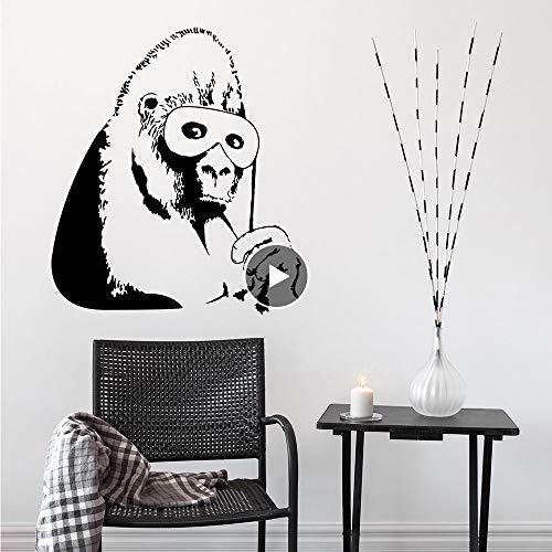 Meaosy Vinyl Wandtattoo Gorilla Schwarze Maske Wandaufkleber Abnehmbare Affe Wandbild Wohnkultur Schimpanse Design Vinyl Kunst 0163