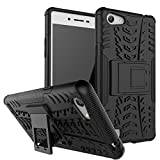 Qzey Kick Stand Hard Dual Rugged Armor Hybrid Bumper Back Case Cover for Oppo Neo 7 - Black