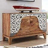 FineBuy Sideboard ANJA 115x75x45 cm Akazie Massivholz Landhaus Holzschrank | Kleiner Schrank Schlafzimmer mit Schubladen | Dielenschrank Anrichte schmal | Braune Kommode modern | Flurkommode bunt