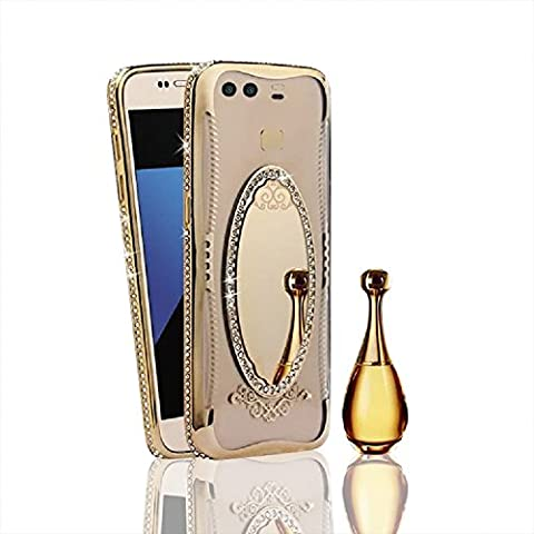 Miroir Coque pour Huawei P9, Vandot Luxe Glitter Bling Diamant Etui Placage Housse de Protection pour Huawei P9 Fashion Creative Design Couverture Plating Case Hull Shell Ultra Mince Souple Gel TPU Bumper Case Cover Shock-Absorption Anti-rayures Coquille pour Huawei P9 - Or