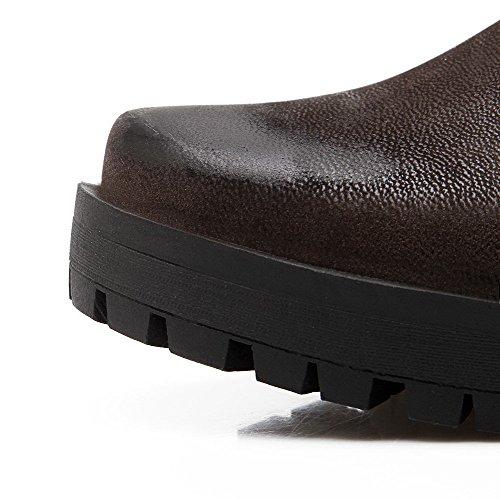 VogueZone009 Damen Rein Weiches Material Mittler Absatz Schnüren Rund Zehe Pumps Schuhe Braun