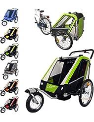 Papilioshop Leon Remorque poussette pour le transport de 1ou 2enfants avec vélo Roue avant pivotante Remorque pliable