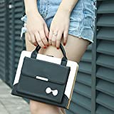 iPad Mini Case,iPad Mini 4 Case,iPad Mini 3 Case,iPad Mini 2 Case,LAPOPNUT PU Leather Portable Handbag style Cute Bowknot Design Magnetic Stand Flip Case Cover with Handle Storage Compartment - Black