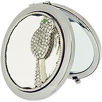 Placcato argento, motivo Sophia-Specchio compatto rotondo, Set uccellino SC1123 con strass