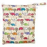 TRIXES Farbenfrohe und waschbare Babywindel- wickeltasche mit süßem Tiermuster (Elefanten) für Kinderwagen, Hochstuhl, Buggy oder Wickeltisch, Unisex-Design