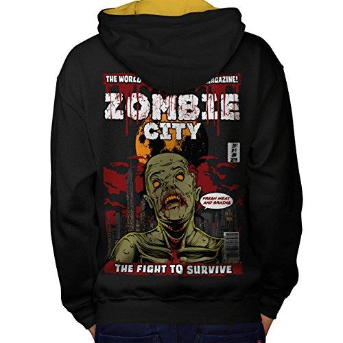 Überleben Kampf Zombie Überleben Kampf Men M Kontrast Kapuzenpullover Zurück | (Kostüm Zombie Überlebens)