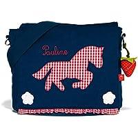 Kindergartentasche & Kindergartenrucksack in einem: Pferd / Pony für Mädchen (mit Namen) in blau