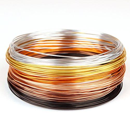 Creacraft 30 mètres fil aluminiumautomne doré - 6 bobines de 5m pour perlage et bijoux (différentes couleurs) (1 mm)