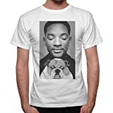 T-shirt Uomo Maglia WILL SMITH DOG FUNNY - Bianco (L)