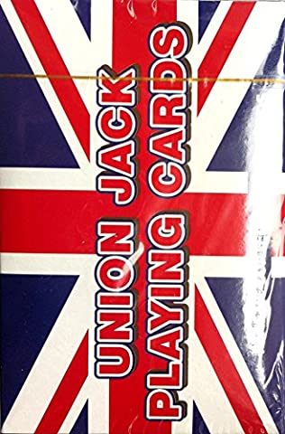 6 x Pack of UNION JACK PLAYING CARDS Plastic Coated Standard Size 8.5cm x 5.5cm