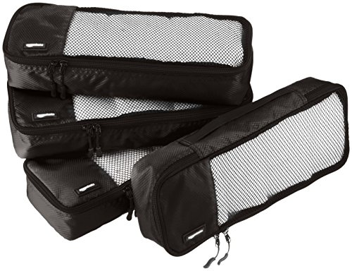 AmazonBasics - Bolsas de equipaje alargadas (4 unidades), Negro