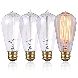 Costway 4x60w Retro Light Bulbs St64 E27 Vintage Antique Style Edison Squirrel Cage Light Bulb