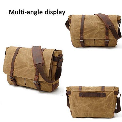 FANDARE Retro Messenger Bag Umhängetasche Schultertasche 14 Laptoprucksäcke Tasche Kuriertasche Multifunktion Canvas Dunkelgrau Hell Khaki