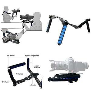 TARION® DSLR Rig Schulterstativ für DSLR Kamera Video Comcorder z.B. Canon 5D Mark II, 7D, Nikon D7000, D90, Sony A55, Sony DSR-PD198P, Panasonic AG-HMC153MC, Sonys PMW EX-1, PMW EX-3, PD170, PD150, FX7, VX2100, HVR-Z5E, HVR-Z7E, Canon XH-A1 oder Panasonic HVX-200