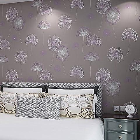 BBSLT Vita minimalista stereo in camera di spessore di tessuto non tessuto di parete di sfondo-giardino di carta calda camera da letto di tarassaco sfondo , viola , 0.53m*10m - Stati Uniti Schiuma Mappa
