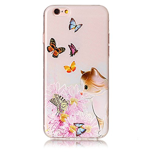 Price comparison product image For iPhone 6 Case, iPhone 6S Case [With Tempered Glass Screen Protector], Qimmortal(TM) Colourful Painting Pattern Soft Gel TPU Silicone Personality relief pattern Scratch Resistant Protective Cell Phone Case Cover For iPhone 6 / 6S(Butterfly Cat)