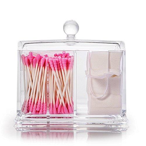 Halterung für Wattepads und Wattestäbchen, Make-up-Organizer aus Acryl, Aufbewahrungsbox (Baumwolle-wolle-halter)