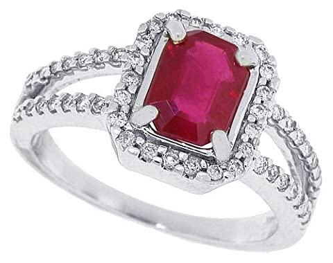 1.55ct Emerald Cut Genuine Ruby and Diamond Ring in 14Kt White Gold-P