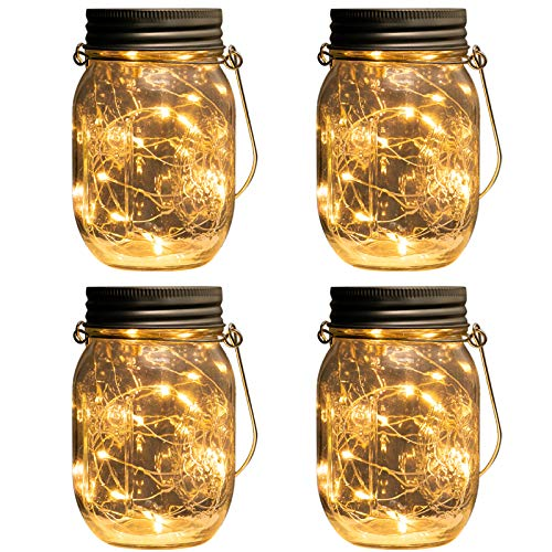 (Beslands Solar Mason Jar Light Led Jar Solar Glas 20 LED 4 Pack Lampen Weihnachten Dekorative Beleuchtung für Glas Mason Jar Hängen Laterne Licht Garten Patio (Mason Jar Included))
