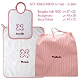 Coccole- Set ASILO NIDO - 3 pezzi: 1 bavaglino, 1 asciugamano e 1 sacca con nome personalizzato per asilo nido -3 mesi - 3 anni (Rosa)