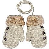 Lalang Gants en tricot pour enfants gants chauds d'hiver (Beige)