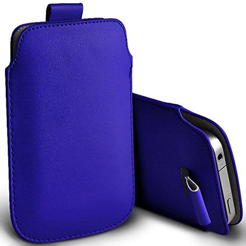 Fone-Case (Blanc) Apple iPhone 8 polyuréthane de haute qualité languette en cuir élégant équipé de couvercle de carter de sachets peau Blue