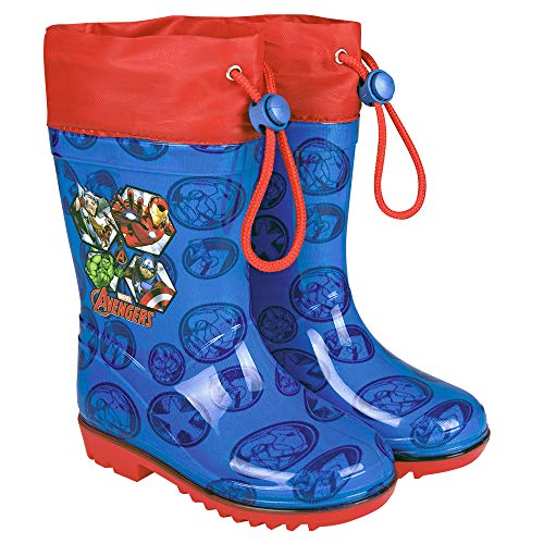 PERLETTI Marvel Avengers Rain Boots Kids - Boys Waterproof Superheroes Wellies Shoes with Anti Slip Outsole - Red Details with Captain America Hulk Thor Iron Man