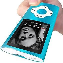Mymahdi Reproductor portátil MP3 / MP4, Azul Claro con Pantalla de 1,8 Pulgadas LCD y Ranura para Tarjetas Micro Memory Card, Tarjeta de 128 GB de Memory Card de Alta Capacidad Memory Card TF