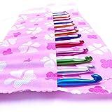 WINOMO 14ST unterschiedlich große multi-Color Aluminium Crochet Hooks Stricknadeln in einer Flower Pouch Tasche (2.0 mm bis 10,0 mm)