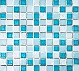 Mosaico de azulejos de cerámica para piscina, color azul, mezcla de colores brillantes, modelo BAD MOS18-0406