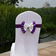 Fundas Cubiertas de Sillas Banda de Silla Plegable en Forma de Lazo y Elástica de Elastano para Decoración de Sillas en Fiesta Banquete de Boda en Hotel Casa de Violado