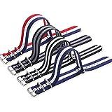 Cinturino per orologio Nato, in tessuto di nylon di alta qualità, 18 mm, 20 mm, 22 mm, con fibbia in acciaio inox (20mm, Red With Black) 4 Packs