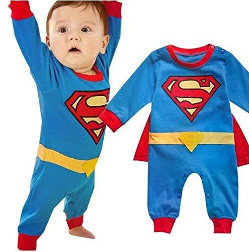 iikids Jumpsuit mit Umhang Kinder Unisex Superman Kostüm Baumwolle Langarmshirt Overall Baby Mädchen Junge Schlafanzug Strampler Spieler Blau 70