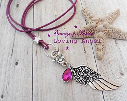 Wechselkette mit WechselAnhänger Flügel KristallTropfen pink Stern echtes Leder LederKette Bettelkette Flügelkette Engel