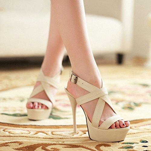 COOLCEPT Damen Mode Slip On Sandalen Stiletto Cut Out Peep Toe Plateau Slingback Schuhe Beige